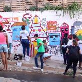 Oficina de grafite no I FIVEF, edição 2016.